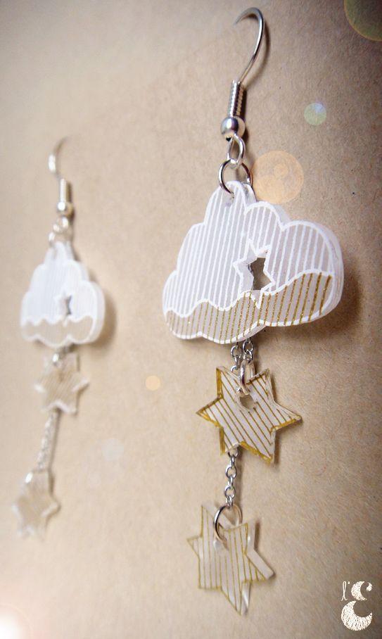 Boucles d'oreilles nuages et étoiles