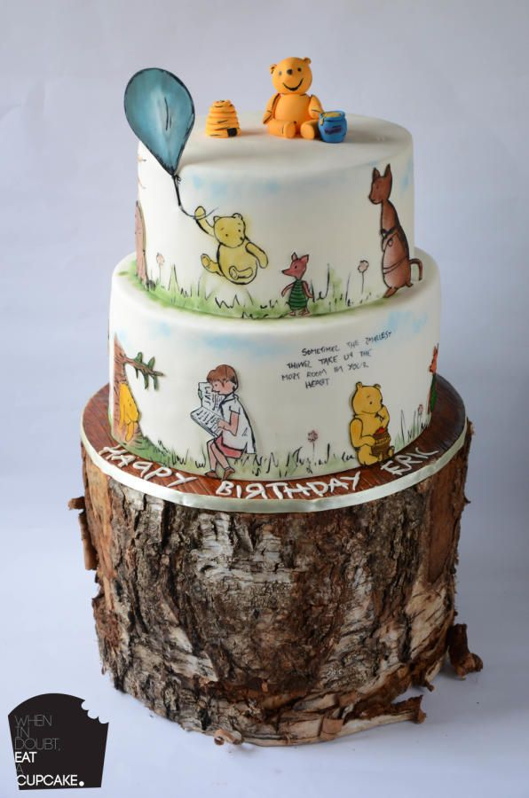 For a little cutie who turned 1, the Winnie the Pooh cake completely hand painted freehand, I'm quite proud of this one :) Red velvet cake and Vanilla cake, covered in fondant and painted on.