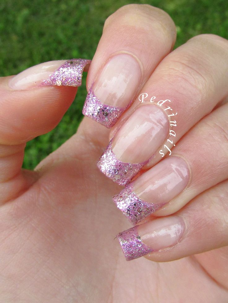Million brilliance french manicure with pink glitter - square natural nails http://pedrinails.blogspot.it/2015/05/million-brilliance-french-manicure-con.html