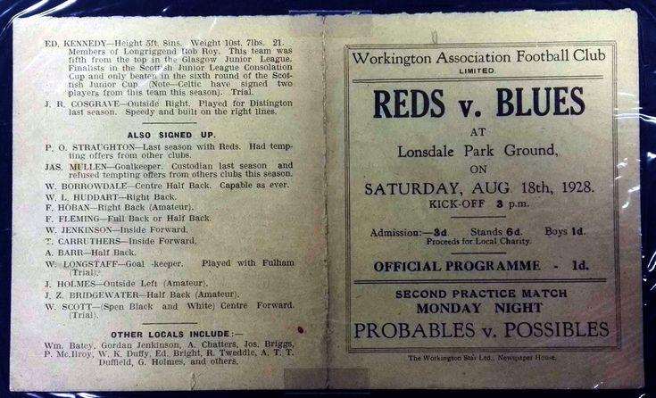Workington AFC pre-season trial programme 1928