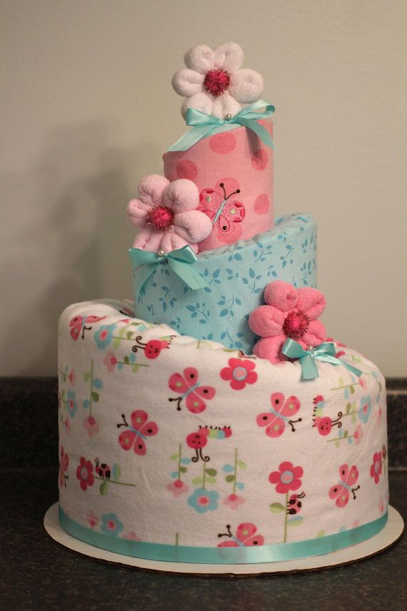 Custom Made Diaper Cakes with blnkets and washcloths