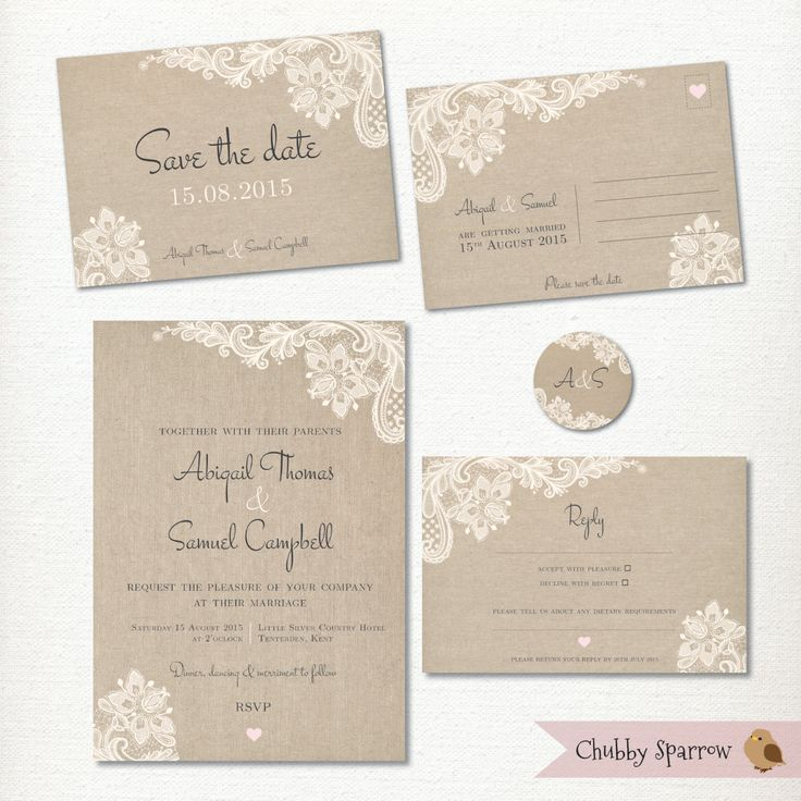 "Lace & Linen Wedding Save the Date, Invitation, RSVP and 2"" label kit set – Print at home – Vintage, Rustic and Romantic by ChubbySparrow on Etsy"
