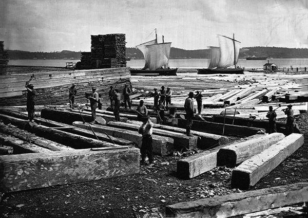 Aboutement de bois équarri, à Québec, en 1872.