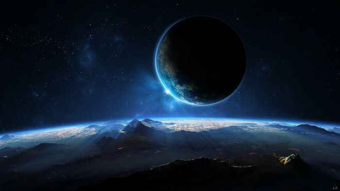 Space Wallpaper 4k Planet In The Sky Over Another Planet Landscape Dark Aesthetic In Black And Blue Cool Galaxy Wallpapers Galaxy Wallpaper Galaxy Images Cool earth wallpapers 4k