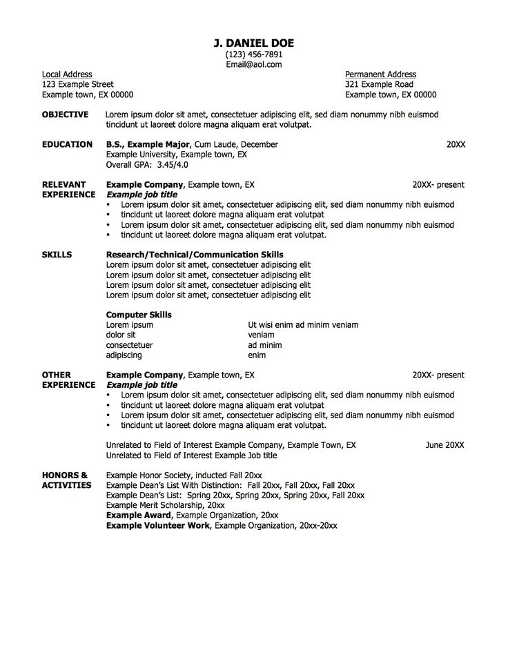 Examples Of Work Resumes First Job Resume Template Work Resume