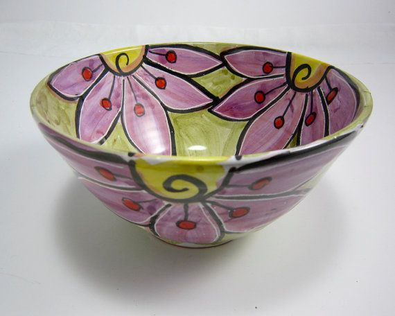 Ceramic Pottery Bowl Purple Flower on Olive green Majolica Clay Kitchen Decor