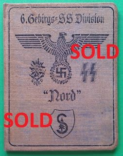6TH SS MOUNTAIN DIVISION NORD GEBIRGSJAGER WAFFEN SS SOLDBUCH ID CARD WEHRPASS PRICE $125