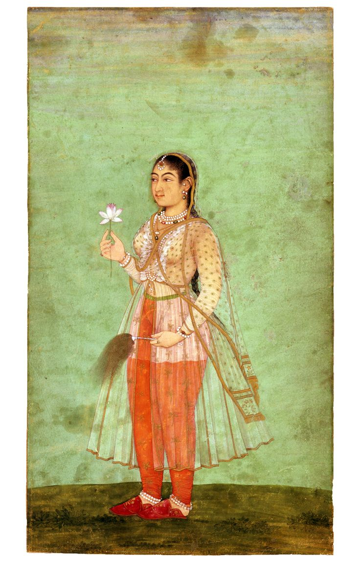 "Miniature. ""A Lady with Flower and Fly Whisk"" India, Mughal; c. 1630"