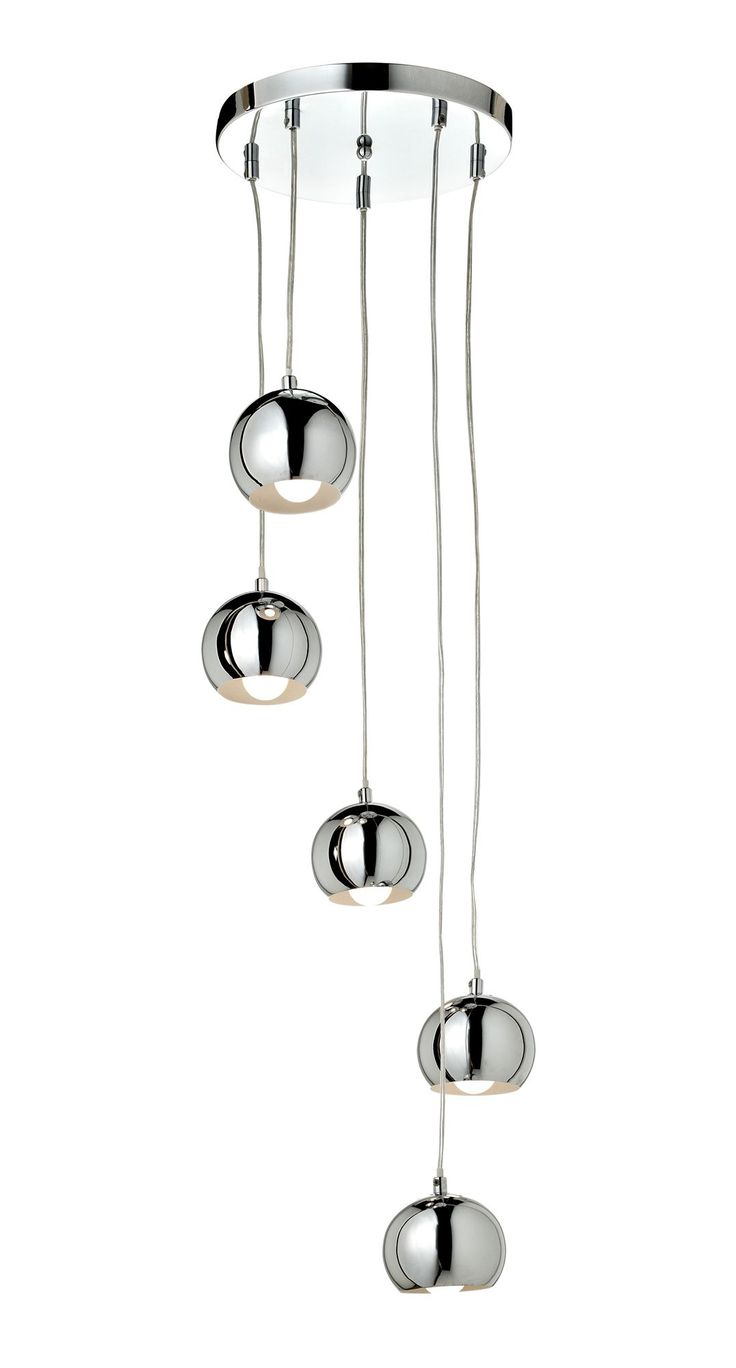 Cascade Chrome Effect 5 Lamp Ceiling Light Wall Lights