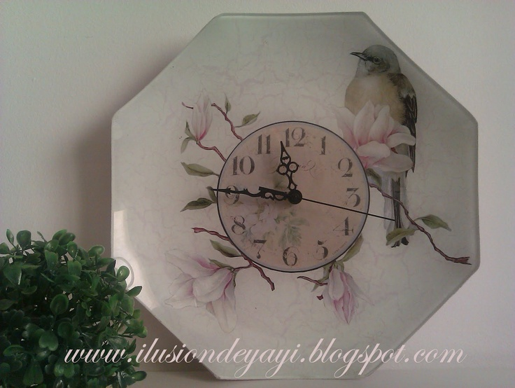 Sweet idea for handmade clock - decoupage images onto plain glass plate and paint background!  Tutorial.