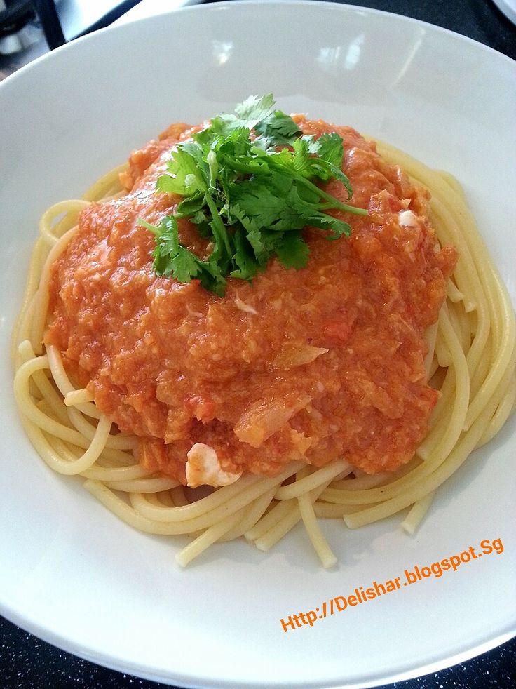DELISHAR: Singapore Cooking & Food Blog: Singapore Chilli Crab Cream Pasta