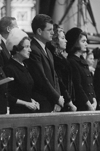 mrs-kennedy-and-me:  Mrs. Jacqueline Kennedy and Mrs. Joan Kennedy Attending Mass   Original caption: Mrs. Jacqueline Kennedy and Mrs. Joan Kennedy, wife of Senator Edward Kennedy, kneel and listen to Richard Cardinal Cushing celebrating Solemn Pontifical Mass of Requiem in memory of the late President. Some 1,800 invited guests were at the nationally televised Mass at the Holy Cross Cathedral January 19, 1964.