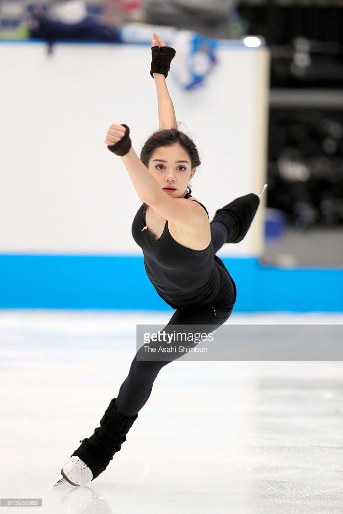 Evgenia Medvedeva of Russia in action during a training session ahead of the figure skate Japan Open 2016 at the Saitama Super Arena on September 30, 2016 in Saitama, Japan.