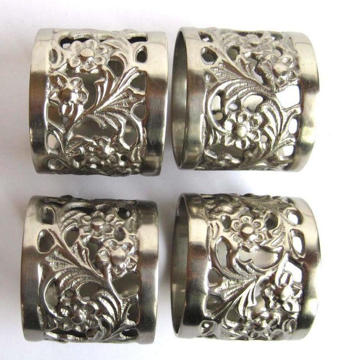 Vintage Pewter Floral Openwork Napkin Rings Set of 4 Lot #Unbranded