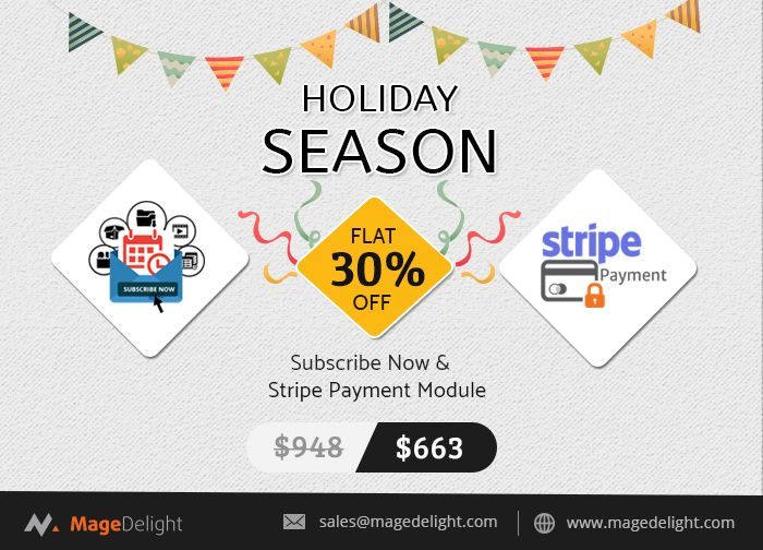 A secure and simple way to start accepting payments using the #StripePaymentGateway. The module helps customers store cards on stripe server and shop in the future.  Subscribe Now is one of the best #Magento #extension to empower your Magento 2 store with subscription plans, auto shipments and recurring billing.  The combo is great to buy and you get 30% OFF on this bundle extensions.  #magento2extension #magentoextension #magedelight #blackfriday #