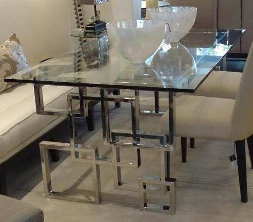 Mesas de acero inoxidable centro comedor lateral - Mesas de comedor de cristal y acero ...