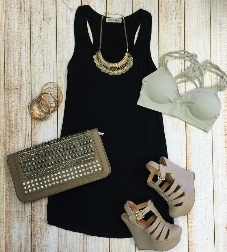 Let's Just Relax Tunic Dress: Black