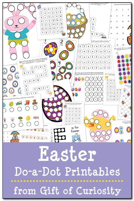 Free Easter do-a-dot printables geared toward kids ages 2-5! This pack includes 21 pages of Easter-themed do-a-dot fun that will have kids practicing shapes, colors, patterning, numbers, and letters! #Do-ADot || Gift of Curiosity