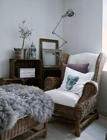 ..ok, not the skeleton pillow or fluffly thing; but I LOVE the stacked crates as shelving!
