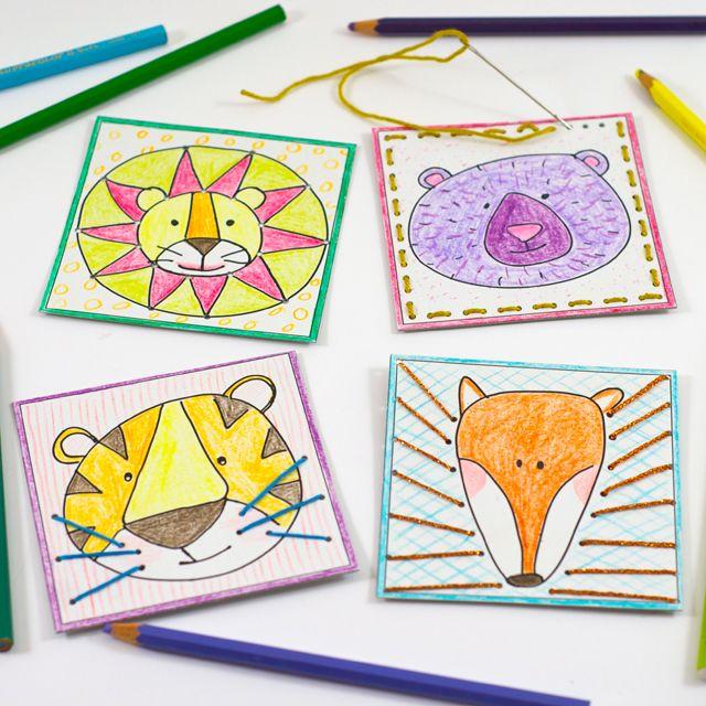 Imprimibles: tarjetas para colorear, perforar y coser de animales