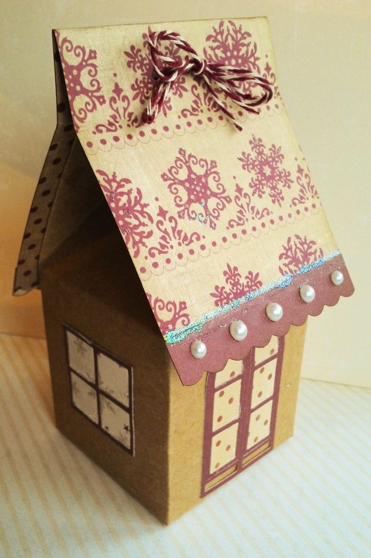 Dovecraft North Pole Christmas Milk Carton House Gift Box by Louise