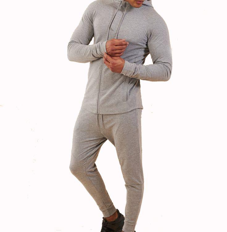 Großhandel grau Trainingsanzug Set Slim Fit Trainingsanzug Gym Trainingsanzug für Männer