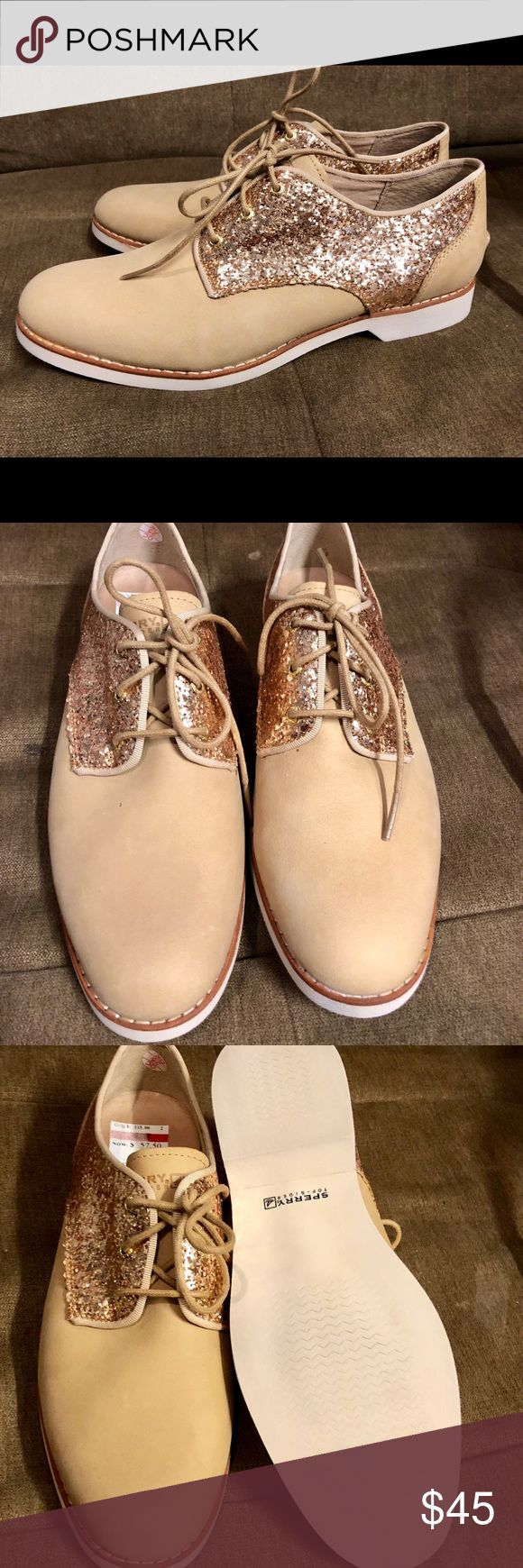 Glitter/tan Sperry oxford Women's gold glitter/tan Sperry Oxford shoes size 8....worn once! Original $115! I got them on sale for $57! Like new! Sperry Top-Sider Shoes Flats & Loafers