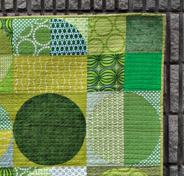 """A beautiful quilt finish by Debbie Jeske of A Quilter's Table! She was hesitant about sewing so many curves, but she utilized Latifah Saafir Studios The Clammy 12"""" ruler which made the project a breeze. All of her fabrics were pulled from her stash, and her quilting was done with Aurifil 50wt thread. To see more, please visit: http://aquilterstable.blogspot.com/2016/08/crop-circles.html"""