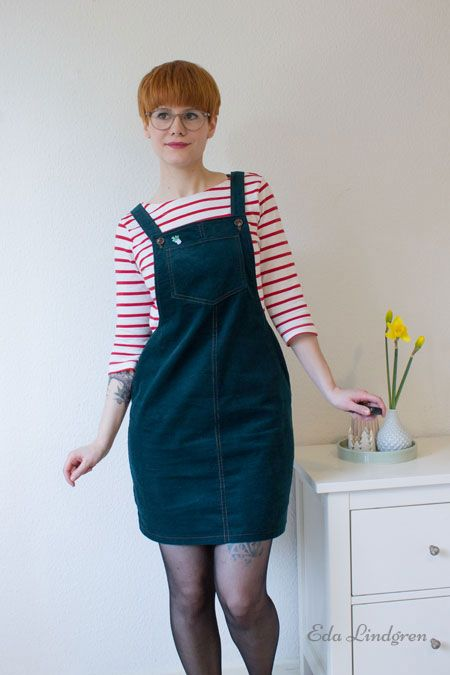 Eda's Cleo dungaree dress - sewing pattern by Tilly and the Buttons