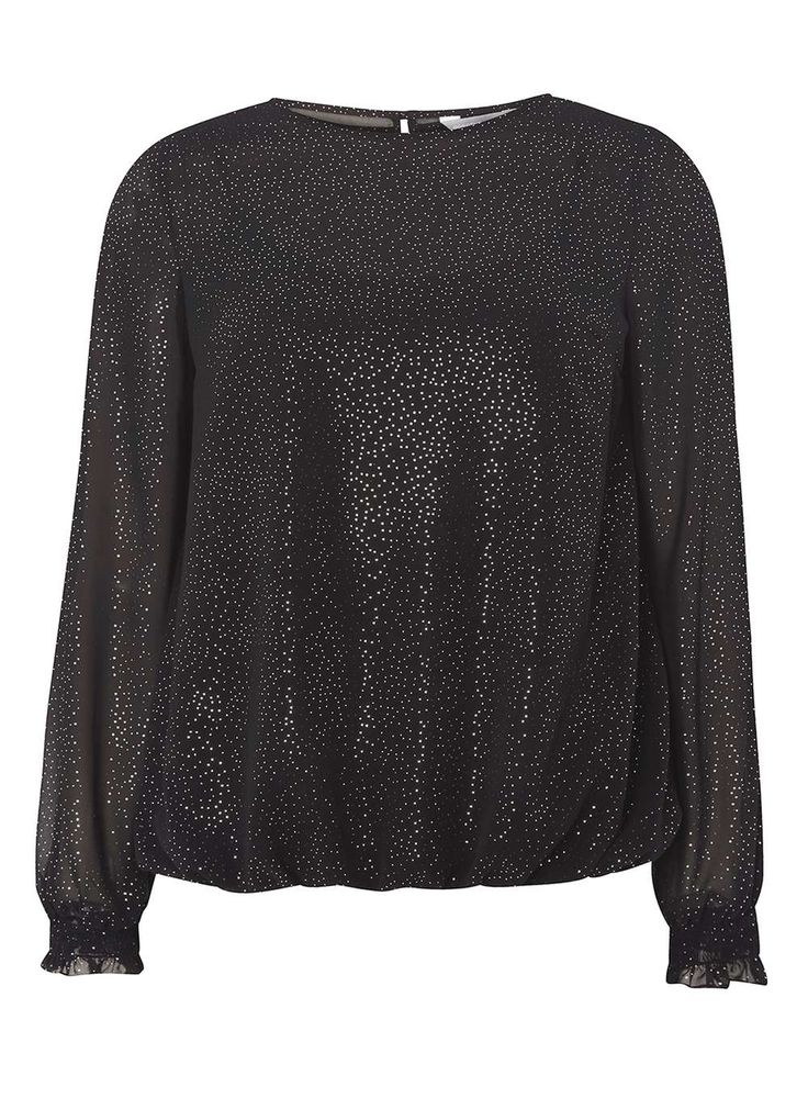 Womens Petite Black Silver Spotted Blouse- Black