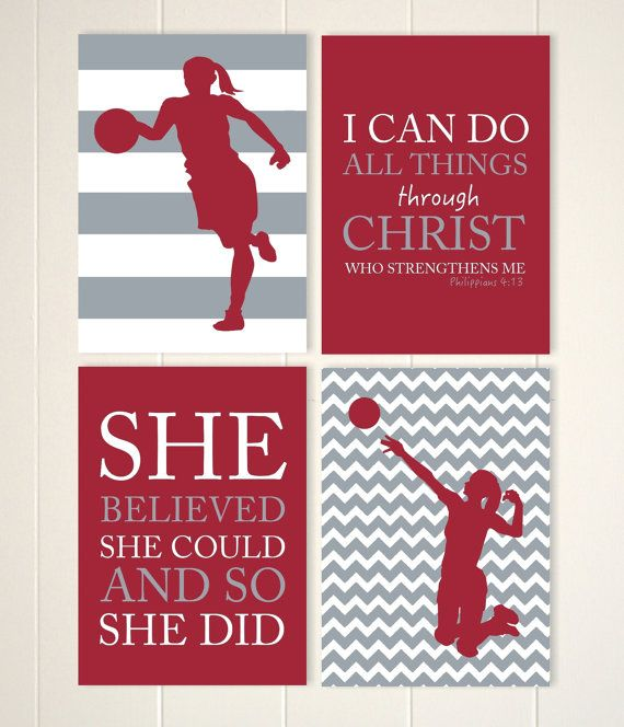 Tween Girl Wall Art, Volleyball Girls Art, Basketball Wall Art, Girls  Motivational Art, Girls Bedroom Decor, Sports Art, Set Of 4 Prints