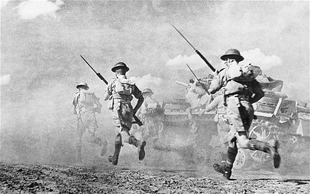 British troops charge into action at El Alamein