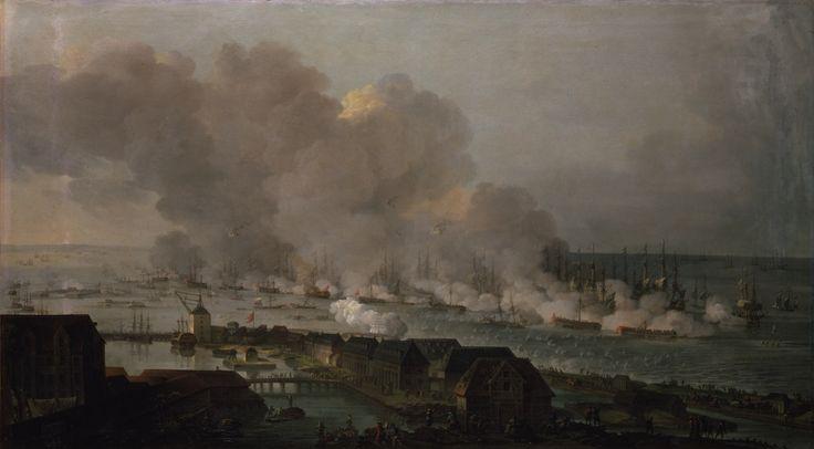 Slaget på Reden malet af Christian August Lorentzen i 1801. Fremstillingen viser slaget kort før klokken 13 den 2. april 1801.