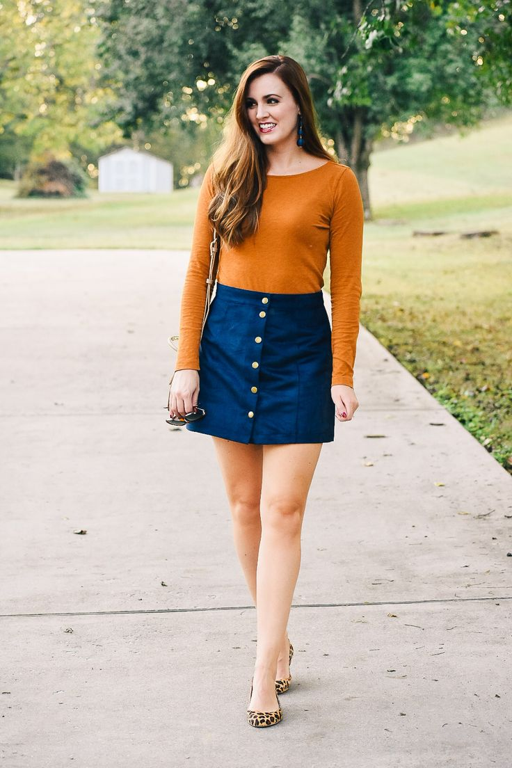 8 Best Leopard Flat Outfits Images On Pinterest Flats Inside Jeraldine Navy 40 Button Front Mini Skirt Paired With A Deep Yellow Long Sleeve Tshirt And Print
