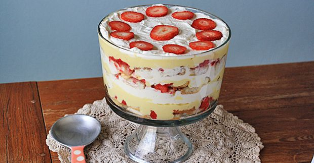 Traditional English Trifle Recipe Desserts with whole milk, heavy cream, vanilla extract, egg yolks, sugar, corn starch, cake, cream sherry, raspberry jam, strawberries, fresh raspberries, cream sherry, sugar, heavy whipping cream, powdered sugar
