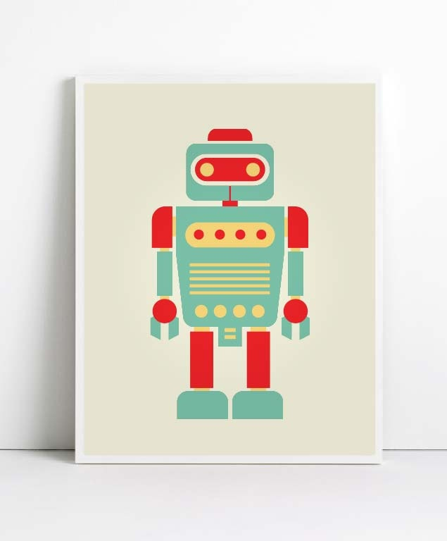 10 images about robot party on pinterest playroom wall for Robot baby room decor