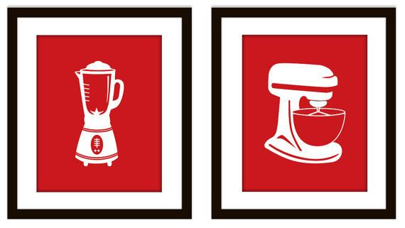 Red Retro Kitchen Art Printables by CleverPrintables on Etsy, $12.50