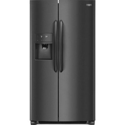 Frigidaire Gallery 22.0-cu ft Counter-Depth Side-by-Side Refrigerator (Smudge proof black stainless steel)