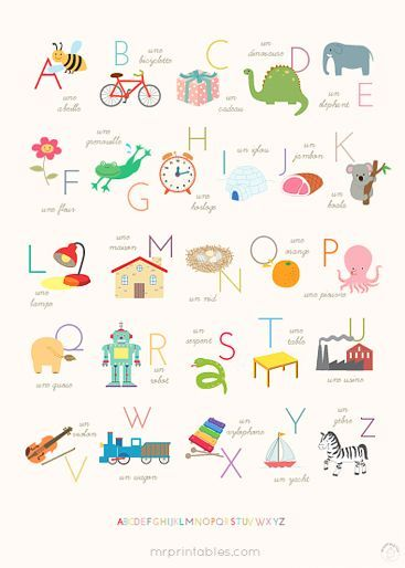 Sweet Alphabet Poster: free printable in many sizes (including very large) in either English, French or Spanish.: