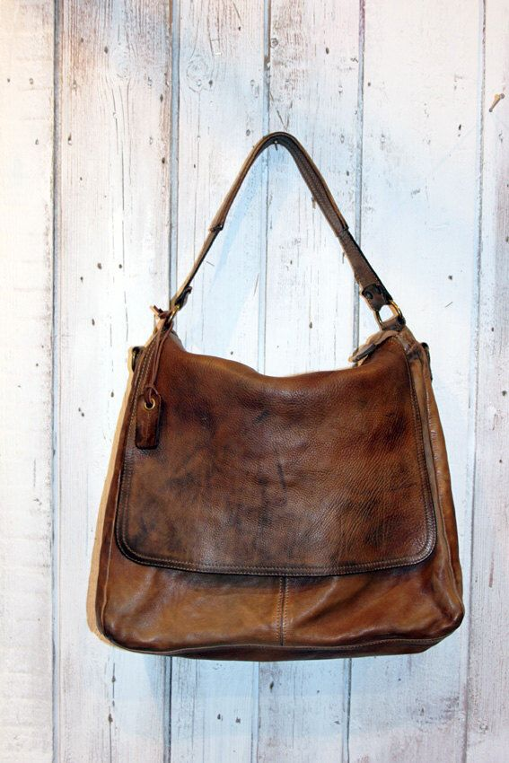 """Handmade Italian Vintage Brown Leather Bag """"TOBACCO BAG"""" by LaSellerieLimited on Etsy https://www.etsy.com/listing/210152691/handmade-italian-vintage-brown-leather"""