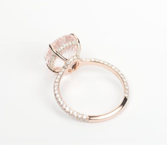 Certified Oval Peach Pink Morganite Diamond by SundariGems on Etsy  LOVE the setting with diamonds around the center stone.