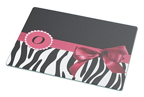 "Rikki Knight Letter "" O "" Tropical Pink Zebra Bow Monogram Large Glass Cutting Board"