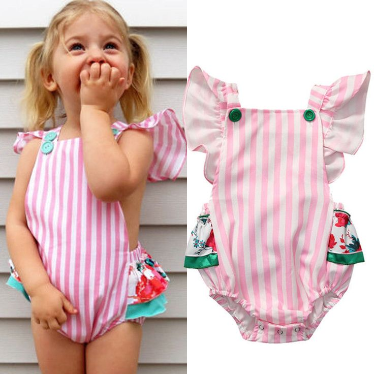 >> Click to Buy << Cute Newborn Baby Girl Romper 2017 Summer Fly Sleeve Ruffles Skirted Rompers Jumpsuit Striped Sunsuit Outfits 0-18M #Affiliate