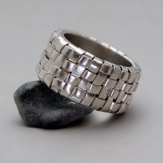 Wide Silver Ring  Handmade Fine Silver Jewelry  by toolisjewelry, $250.00