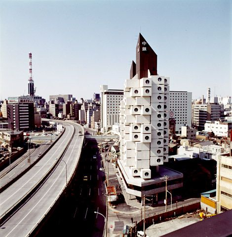 Metabolist architecture! Here we have Nakagin Capsule Tower by Kisho Kurokawa (1972). The building was made up of replaceable capsules.. which are amazing! Check them out they are modern in the most interesting sense.