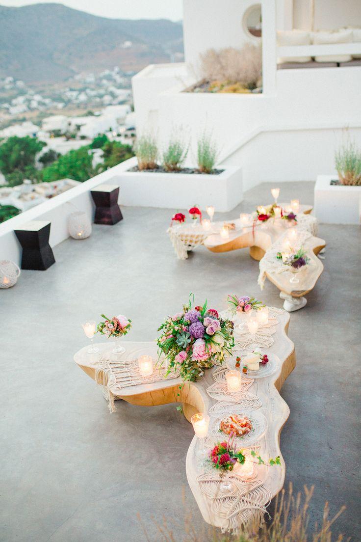 the aegean sea sparkles in this greek wedding editorial unique wedding reception ideasreception tableunique