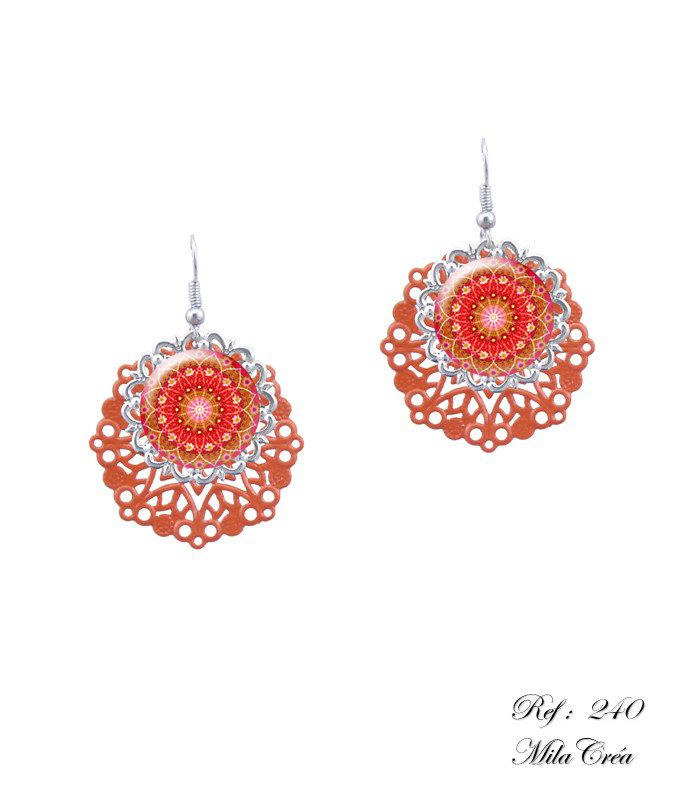 Red dangle earrings - Mandala red orange earrings handmade in France by Milacrea (23.00 USD) by milacrea