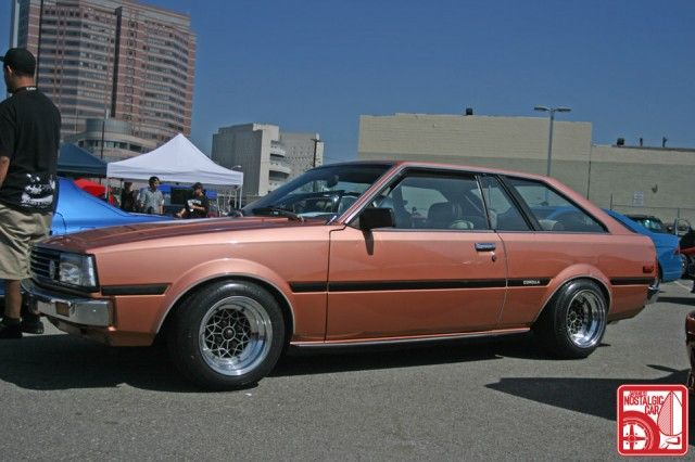 Toyota Corolla Liftback. It was a twin to this one other than the wheels which were stock. Repainted it and figured it got good gas mileage and would make a good commuter car. It didn't..