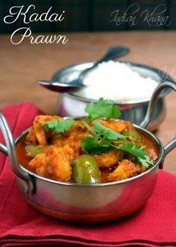 Kadai Prawn (Jhinga) or Prawn Capsicum curry is easy prawn curry with capsicum and spices. Prawn Capsicum Masala Recipe, Eral Curry, Indian Prawn Recipes, Jhinga Masala,