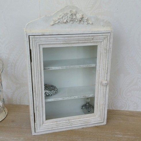 Cream Shabby Chic Glass Door Cabinet